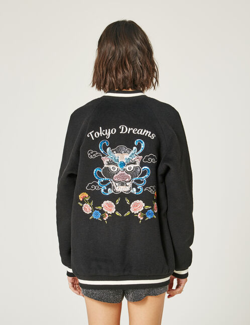 Long black embroidered varsity jacket