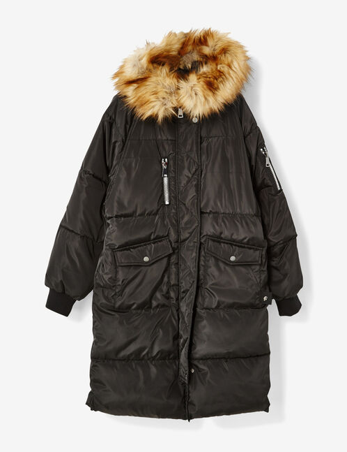 Extra long black padded jacket