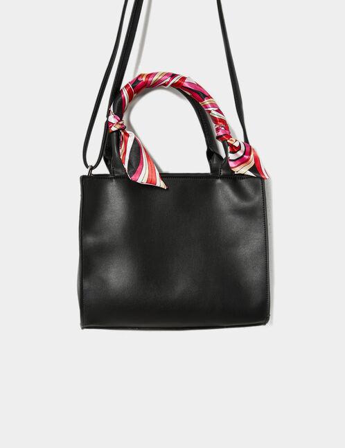 Black handbag with scarf detail