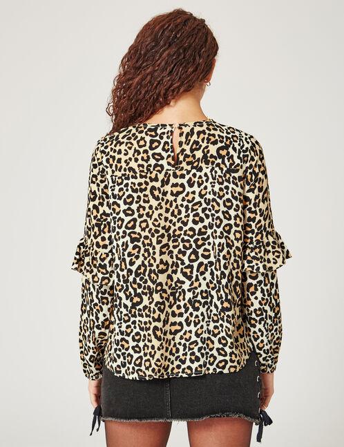 Beige leopard print blouse