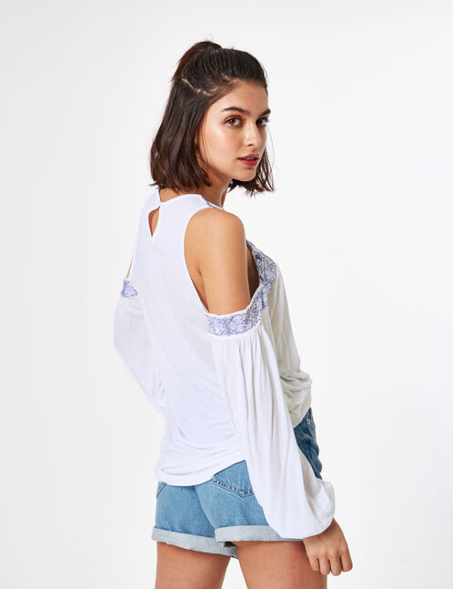 Cream and navy blue embroidered top