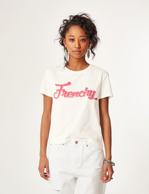 Cream T-shirt with text design detail