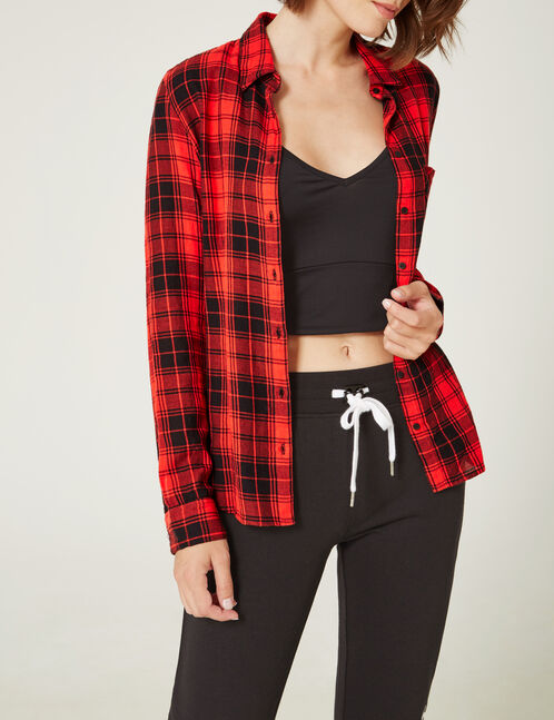 chemise basic à carreaux rouge et noir