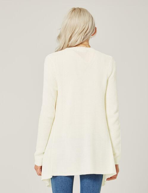 Cream textured open cardigan