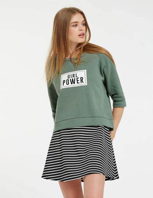 "Khaki sweatshirt with ""girl power"" print"