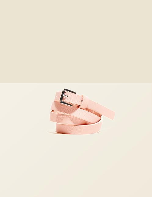 ceinture stirée rose clair