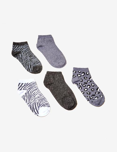 chaussettes imprimé animal noires, grises, blanches et argentées