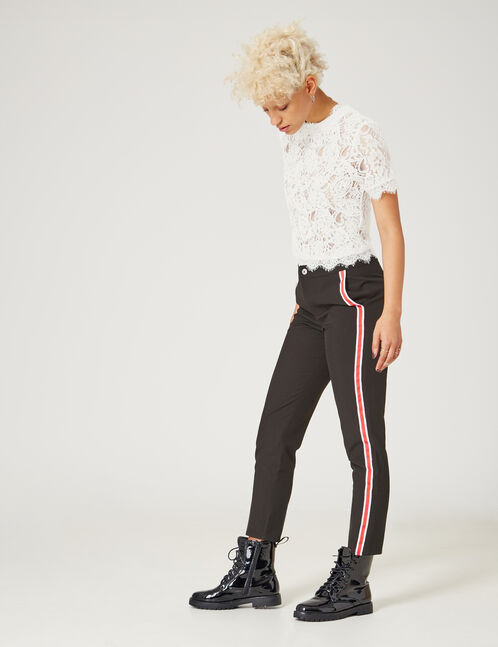 Black tailored trousers with stripe detail