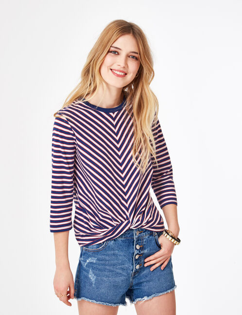 Navy blue, cream and red striped tie-effect T-shirt