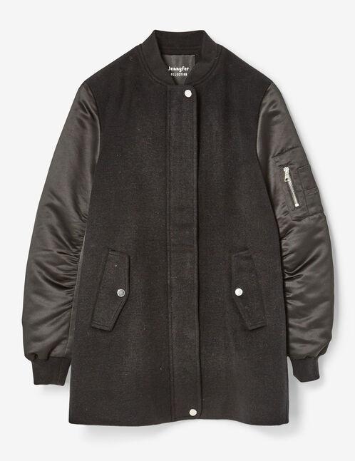 manteau bi-matière noir