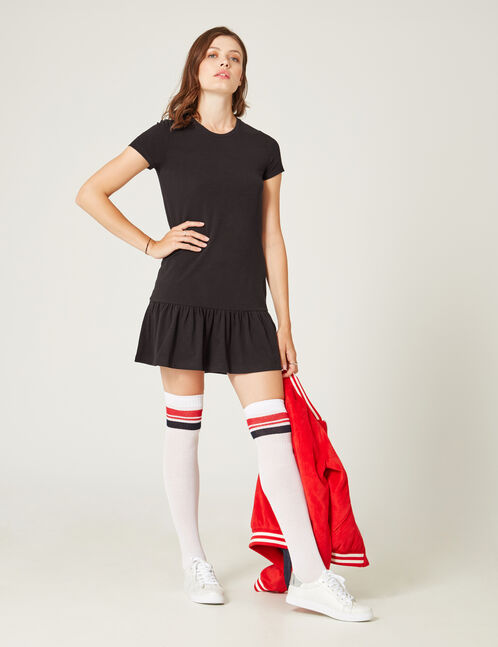 robe droite avec volant noire