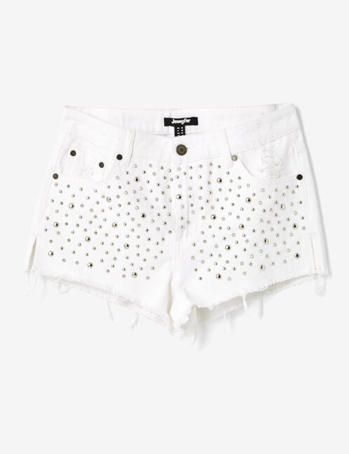 Cream shorts with stud detail