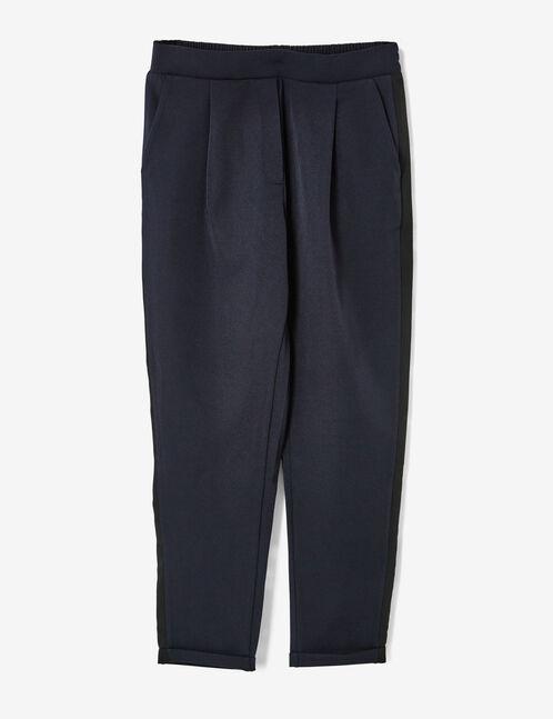 pantalon ville à pinces bleu marine