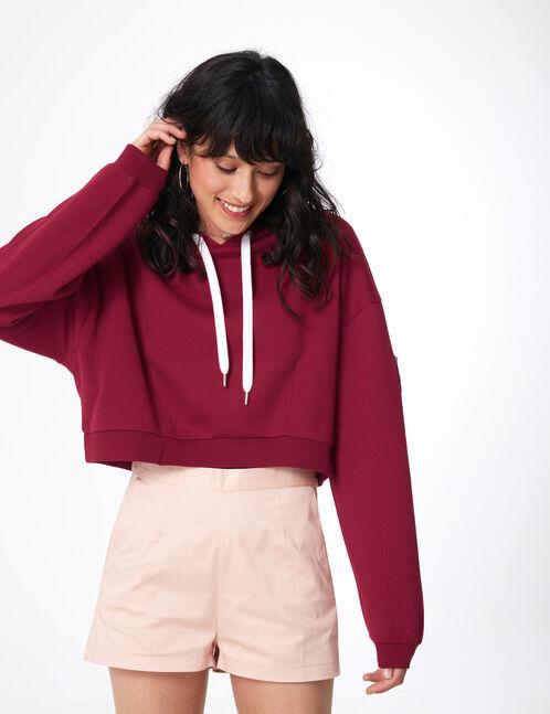 Burgundy print hoodie