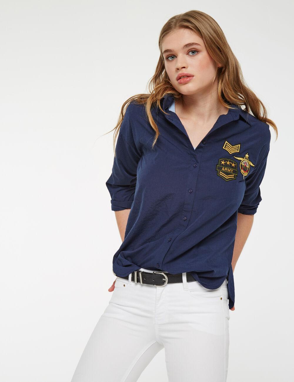 chemise patchs bleu marine femme jennyfer. Black Bedroom Furniture Sets. Home Design Ideas