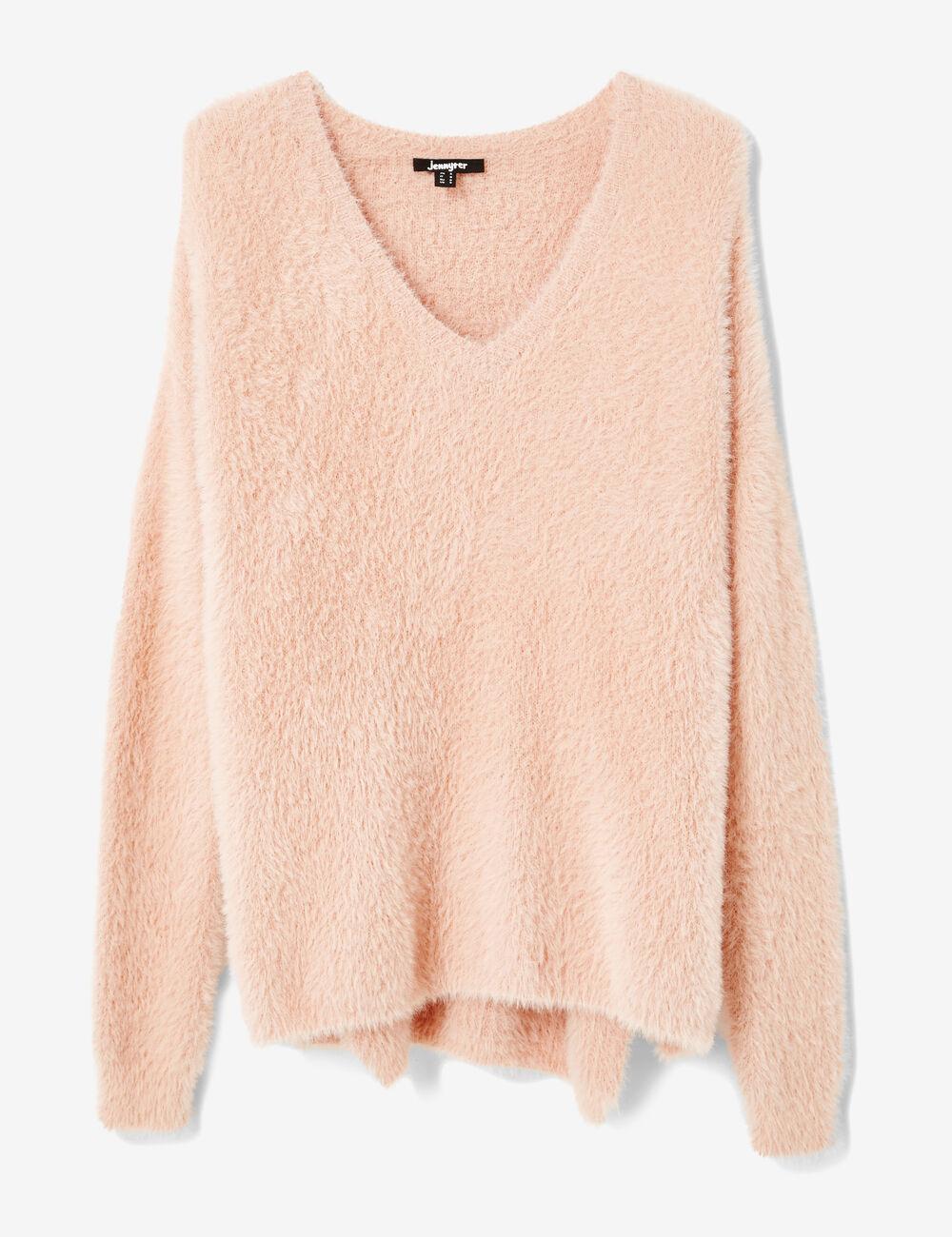 Long light pink mohair-effect jumper woman • Jennyfer
