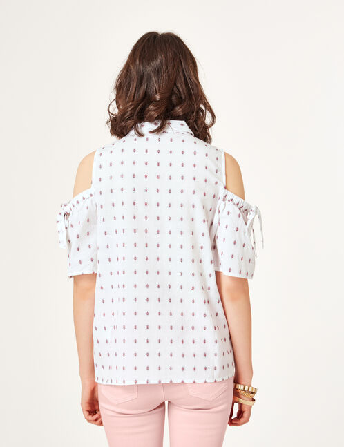 chemise épaules ajourées écrue