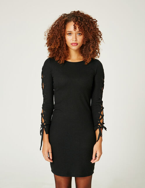Black dress with laced sleeve detail