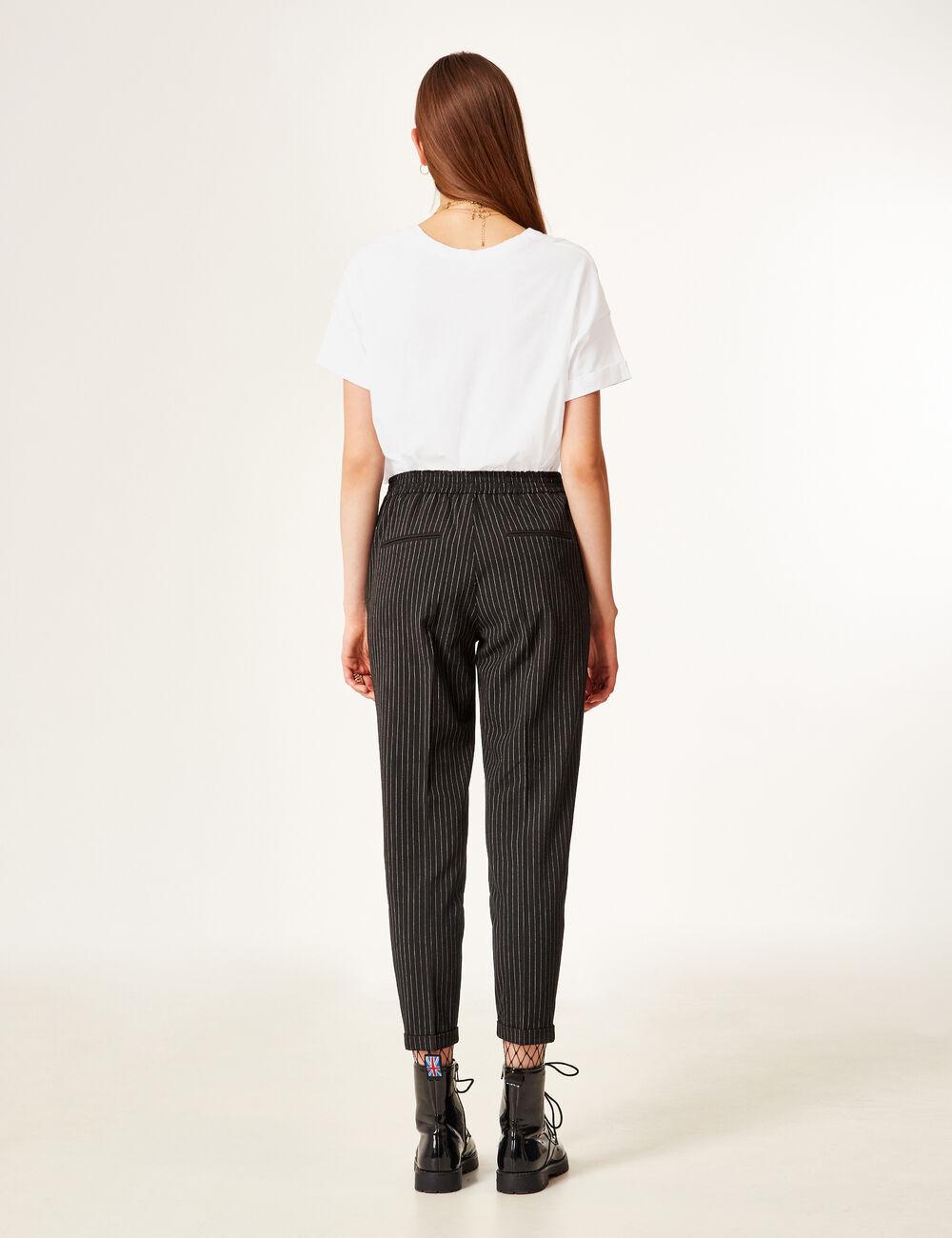 pantalon ville fines rayures noir et cru femme jennyfer. Black Bedroom Furniture Sets. Home Design Ideas