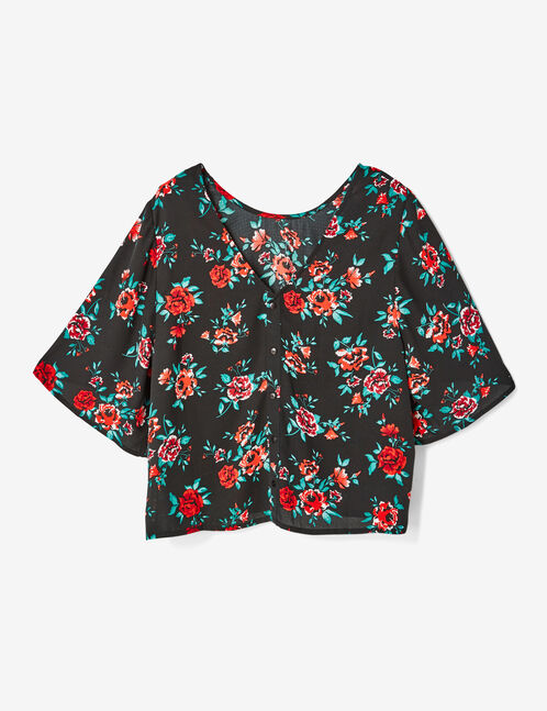Black rose print blouse