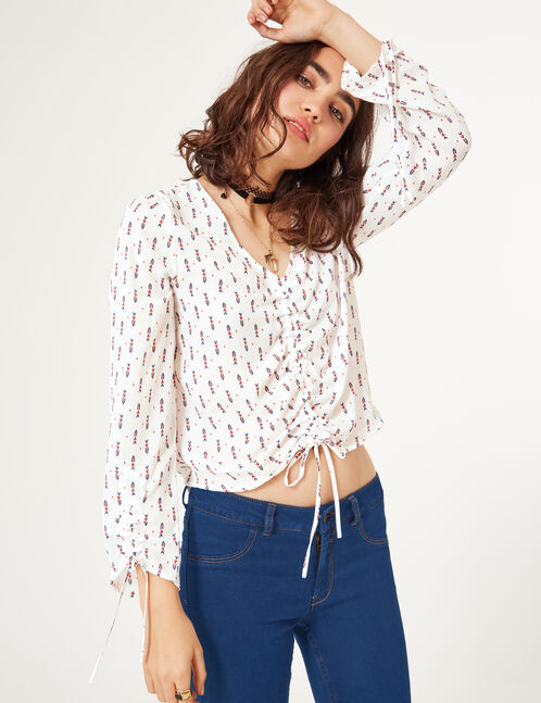 Cream ruched blouse