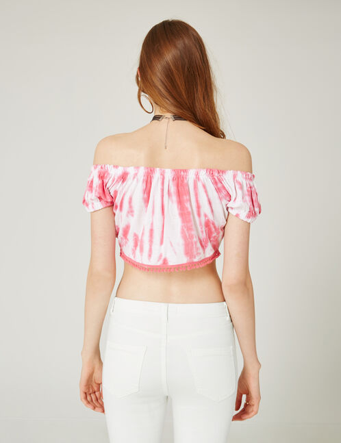 Cream and pink tie-dye crop top