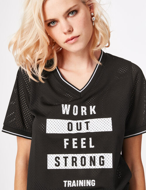 Black fitness T-shirt with text design detail