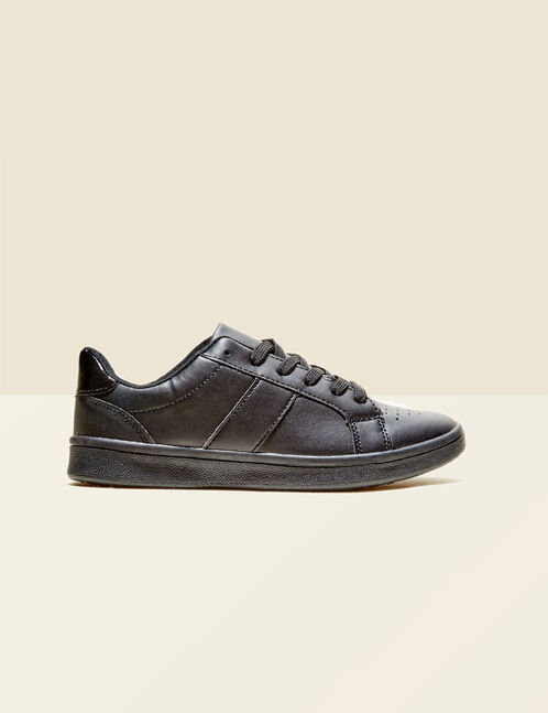 Black trainers with mirror-effect detail