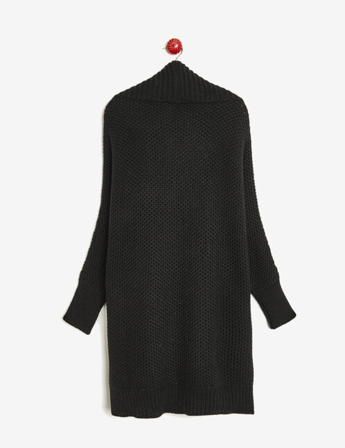 Black textured knit open cardigan