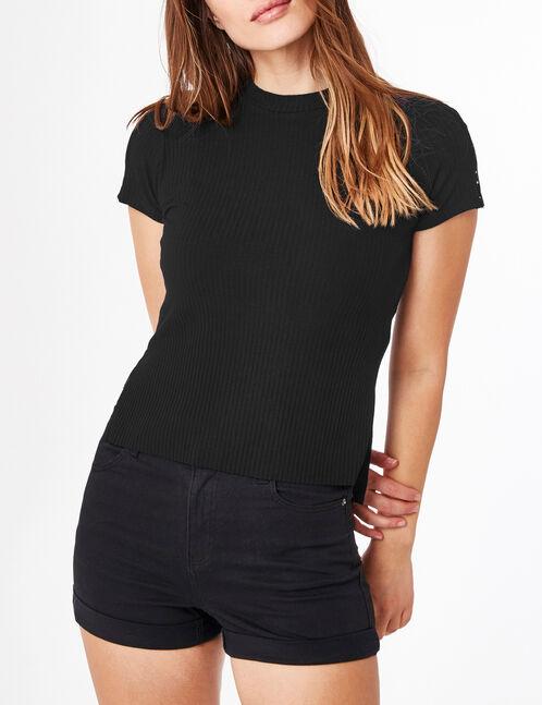 tee-shirt avec anneaux noir