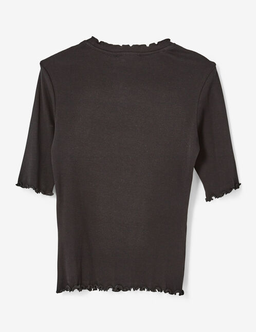 Basic black ribbed T-shirt