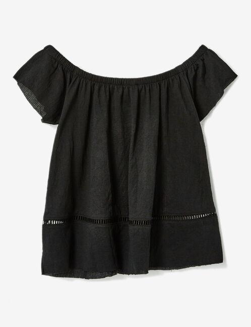 Black crêpe T-shirt