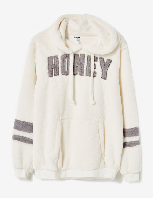 Cream plush fleece hoodie with text design detail