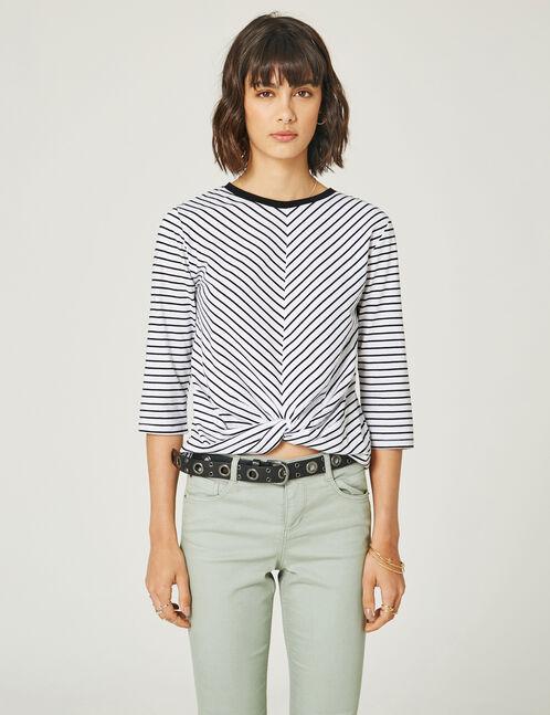 tee-shirt rayé effet nouer blanc et noir