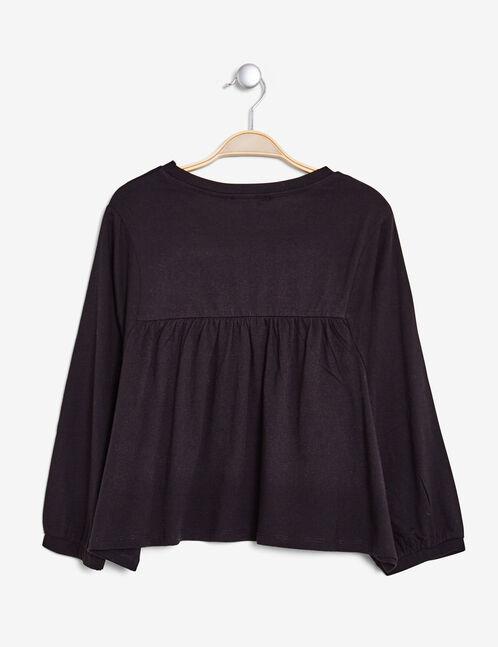 tee-shirt effet blouse noir