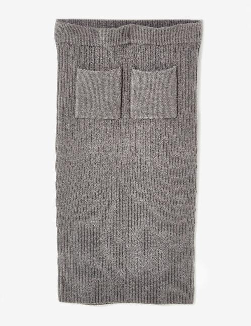 jupe longue côtelée gris anthracite chiné