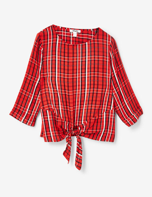 Red, black and cream checked tie-fastening blouse