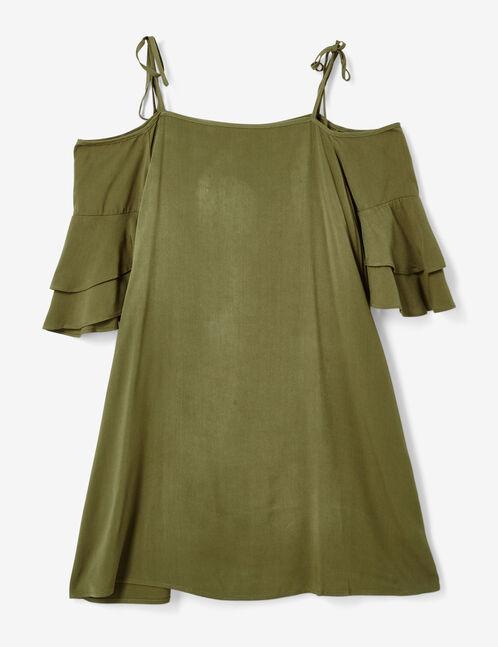 Khaki cold shoulder dress