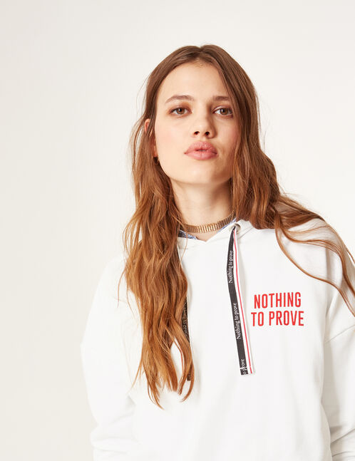 Long white hoodie with text design detail