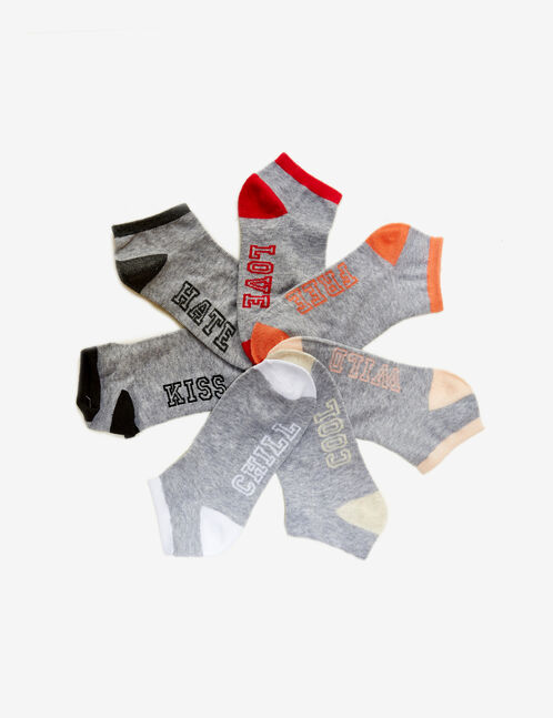 Grey, pink, black and white text design socks