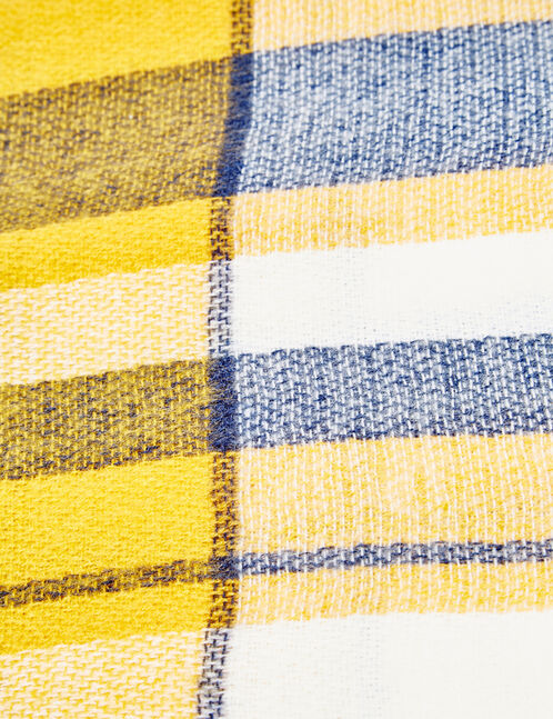 Blue, yellow and cream checked scarf