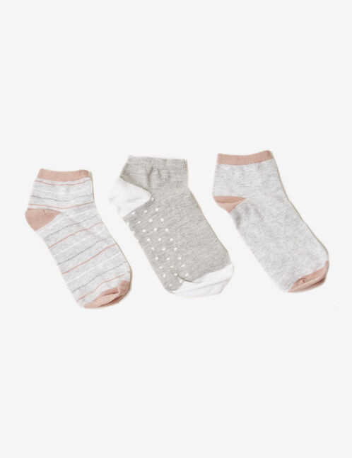Grey, white and pink patterned socks