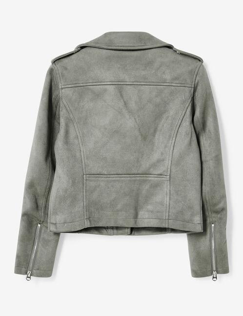 veste biker en suédine gris