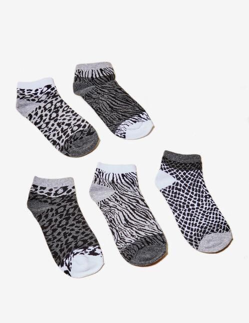 chaussettes imprimé animal noires, grises et blanches