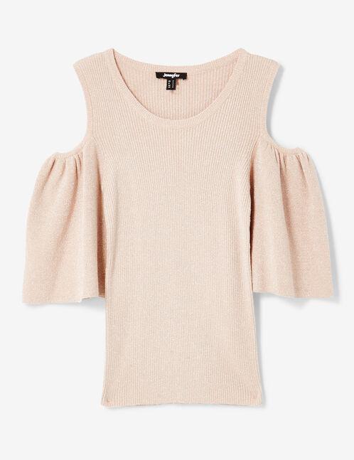 top lurex épaules ajourées rose clair