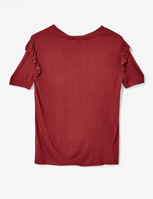 Burgundy T-shirt with embroidered detail