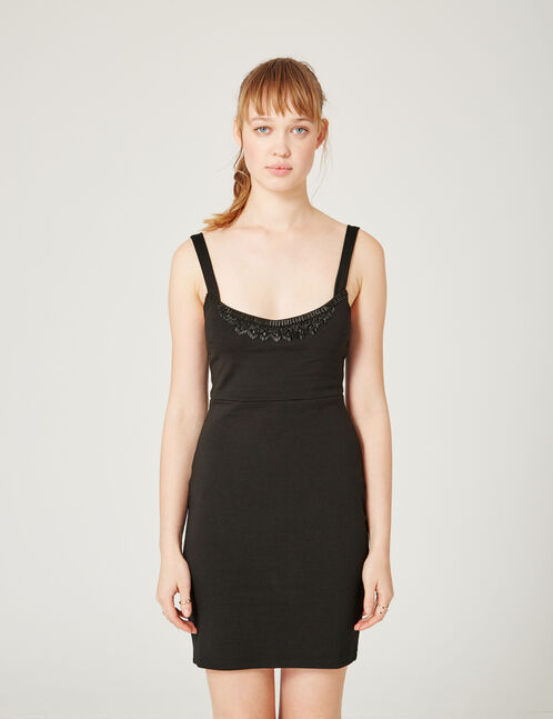 Black dress with beading detail