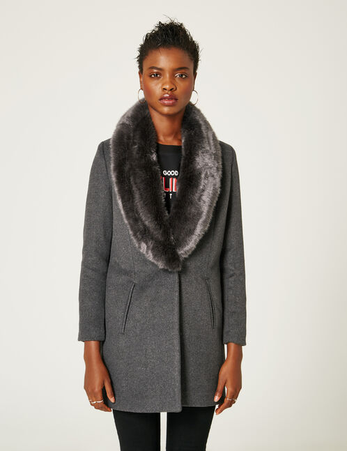 Charcoal grey marl coat with faux fur collar