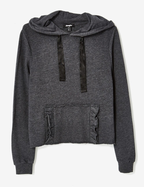 Charcoal grey marl hoodie with frilled pocket