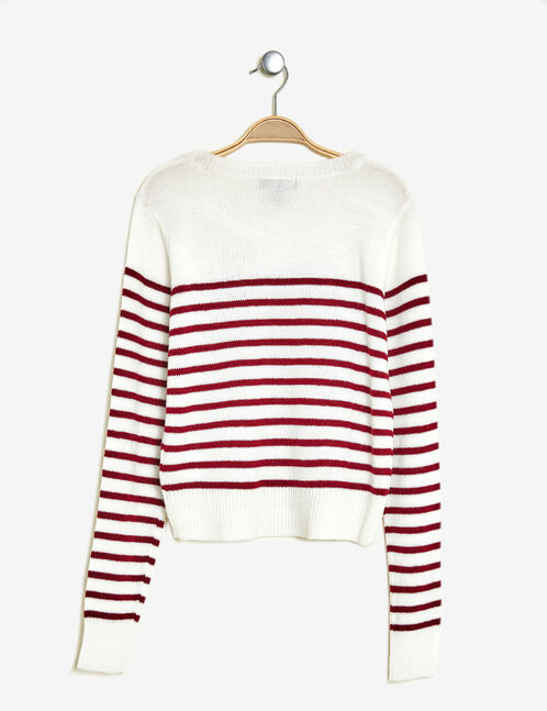 Cream and raspberry striped jumper